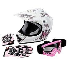 Tengchang Dot Youth & Kids Motocross Offroad Street Helmet Pink Butterfly Motorcycle Helmet+Goggles+gloves L