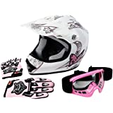 TCMT Dot Youth & Kids Motocross Offroad Street Helmet Pink Butterfly Motorcycle Helmet White Dirt Bike Dirt Bike Helmet+Goggles+gloves M