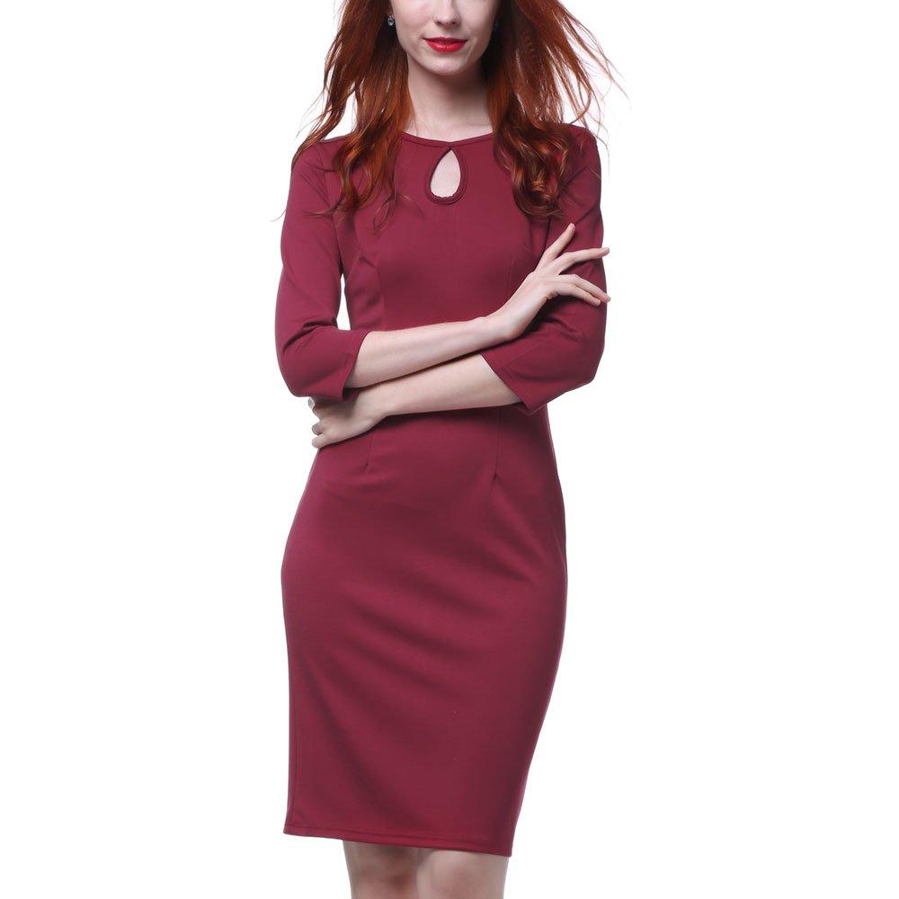 9bec753f3fd Round neck elegant patchwork flattering colorblock dress wear to work office  career sheath dress. For work