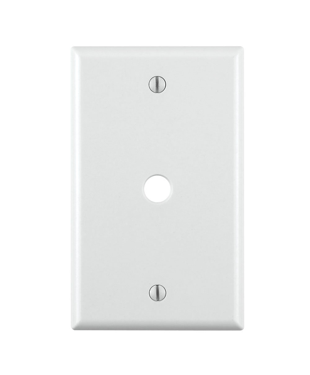 Leviton 88013 001-000 Standard Size Telephone/Cable Wall Plate, 1 Gang, 4-1/2 in L X 2-3/4 in W 0.22 in T, Pack of 1 White