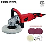 Toolman Electric Polisher Sander Paint Care Tool 7'' 12A amps Variable Speed 500-3200RPM with Hook and Loop works with DeWalt Makita Ryobi