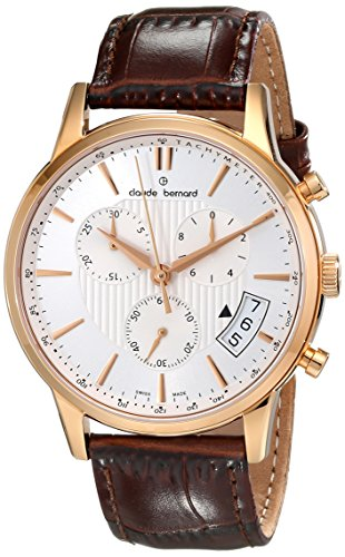 Claude Bernard Men's 01002 37R AIR Classic Chronograph Analog Display Swiss Quartz Brown Watch