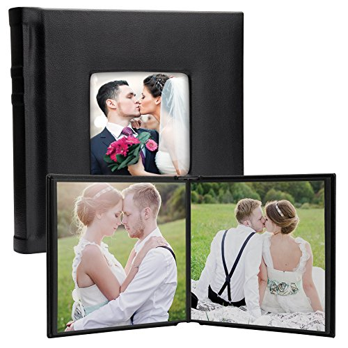 10'' x 10'' Black Square Self-Stick Albums with Cameo Cover - Case of 6 by Neil Enterprises