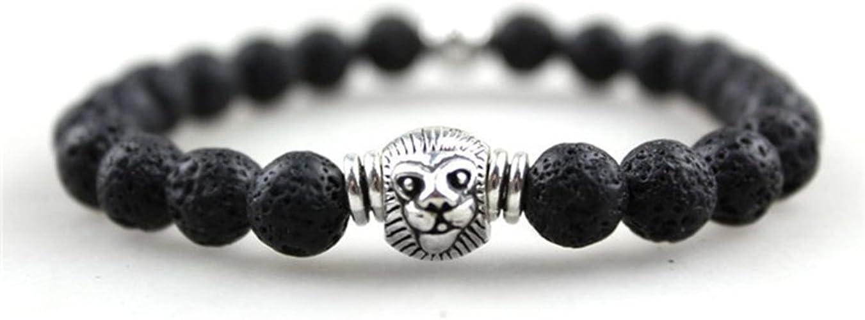 Amazon.com: JY Jewelry 8MM Lava stone Beads Silver tone ...