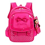 Sameno Baby Girls Kids Bowknot Heart Dot Backpack Toddler School Bag 3Pcs Set (Hot pink)