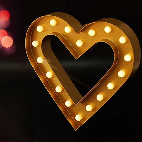 """BRIGHT ZEAL 12.5"""" Large Romantic LED HEART Marquee Sign  - L"""