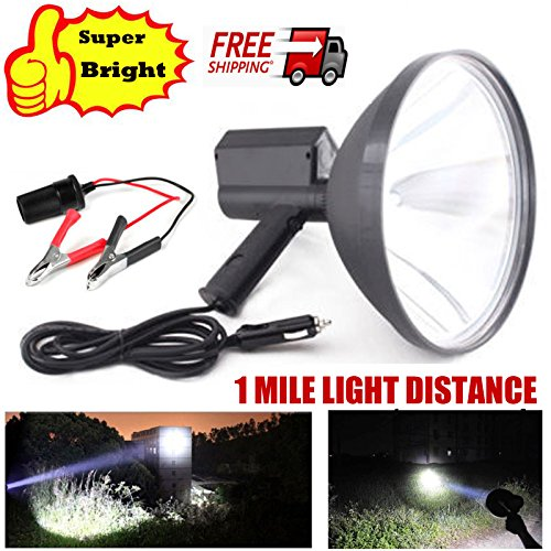 100W Handheld HID Spotlight 9 Inch 12V Xenon Hunting Lamps 8000 Lumens Super Bright 1 Mile Long Lighting Distance + Battery Conversion Clamps for Fishing Boating Camping Driving Searchlight US Ship
