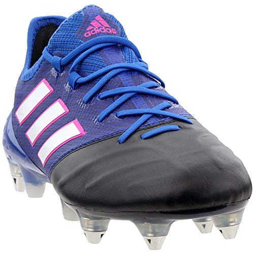 adidas Mens Ace 17.1 Leather Soft Ground Soccer Athletic Cleats Blue -