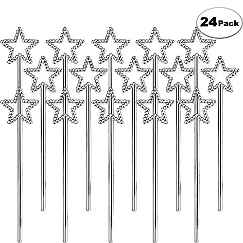 Sequin Silver Star Wand - Bulk Pack of 24 Pieces With Rhinestones, Magic Fairy Wand Cake & Cupcake Toppers for Girls Dress-Up, Party Decoration, Princess Birthday Parties, and Small Favors