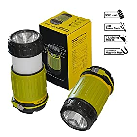 VITCHELO LED Lantern Rechargeable. Ultra Bright Lantern Flashlight & Collapsible Camping Lamp. USB Rechargeable Lantern W/ 3600 mAh Power Bank Best for Emergency Situations, Power Cuts, Car & Tents