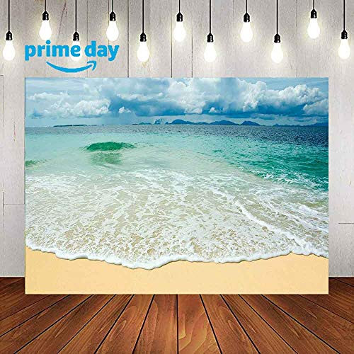Sea Waves Backdrop for Photography, 9X6FT, Green Sea Blue Sky White Clouds Backgrounds, Sand Beach for Photography Personalized Photo Booth Studio Props -