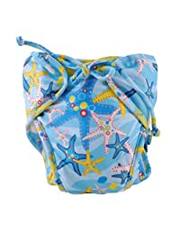 Size Medium, Adjustable Infant Swim Diaper, [Starfish, Blue]