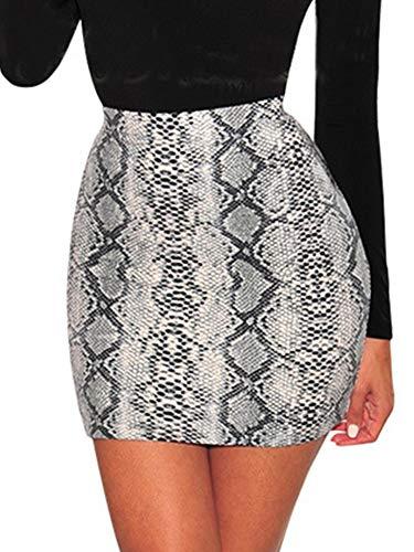 (Womens Sexy Snakeskin Bodycon Skirts - Snake Skin Print Skinny Soft High Waist Short Mini Dress White)