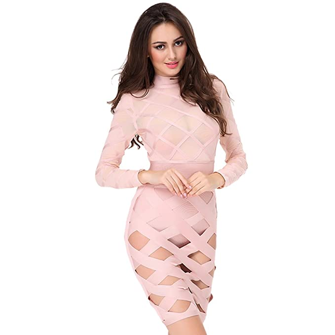Amazon.com: Ladyce Fashion Mesh Long Sleeve Bodycon Bandage Dress: Clothing