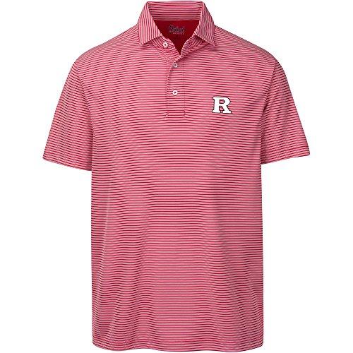 NCAA Rutgers Scarlet Knights Adult Men Calhoun 2-Tone Stripe Ottoman Polo, X-Large, Cardinal