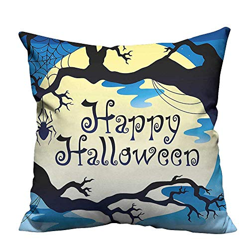 (YouXianHome Pillow Case Cushion Cover Happy Halloween Quote Spooky Night Branch Shadows Haunted Lights Printing Dyeing (Double-Sided Printing) 11x19.5)