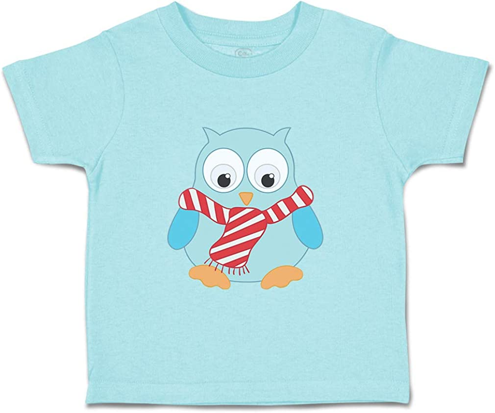 Custom Baby /& Toddler T-Shirt Blue Toy Owl Scarf Cotton Boy Girl Clothes