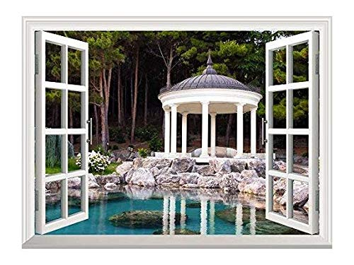 Removable Wall Sticker Wall Mural Gazebo by The Pond in a Beautiful Green Park Creative Window View Wall Decor