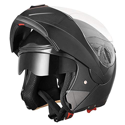 (AHR Full Face Flip up Modular Motorcycle Helmet DOT Approved Dual Visor Motocross Black XL)