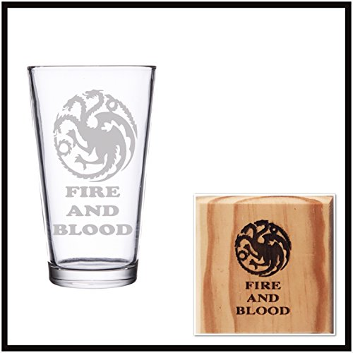 House Targaryen Fire and Blood Game of Thrones Pint Glass and Wooden Coaster Set (By Brindle Designs) Review