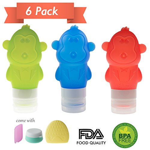 Travel Bottles Set, BPA free Silicone Travel Size Bottles Cosmetic Containers for Shampoo, Conditioner, Lotion, Toiletries