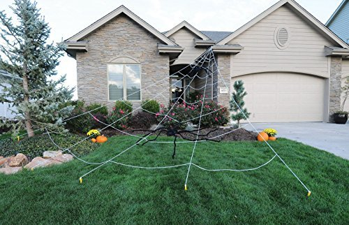 Mega Spider Web Outdoor Halloween Decoration - Terrify Your Neighbors - by FunWorld]()