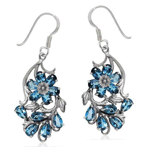 - Genuine London Blue Topaz 925 Sterling Silver Flower & Leaf Dangle Hook Earrings