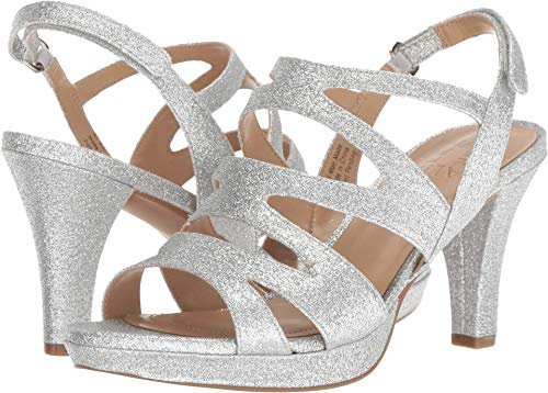 Naturalizer Women's Pressley Silver Mini Glitter 6.5 W US W (C) (Heel Mini Platform Sandal)
