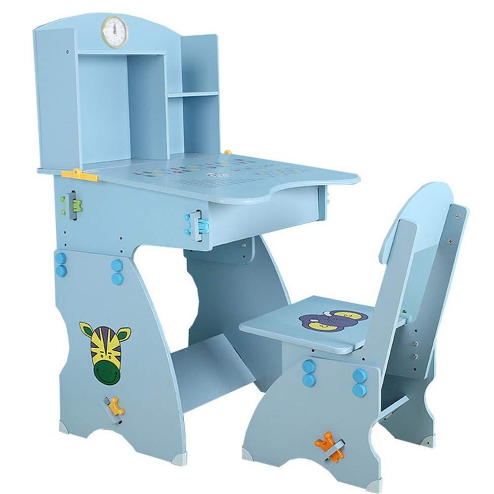 子供用テーブルと椅子 かわいい子供のテーブルと椅子のセット学生の机と椅子子供のテーブルと椅子のセット本棚付きホームデスク男の子と女の子ライティングデスクリフトテーブルと椅子 多機能子供用ハイチェア (色 : 青, サイズ : ワンサイズ) ワンサイズ 青 B07TG7H13G
