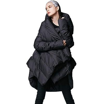 YVYVLOLO Women's Winter Down Coat Cloak Hooded Long Warm Jacket: Clothing