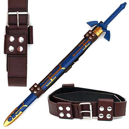 Link Hyrule Zelda Sword Leather Belt Strap, Brown, One Size -