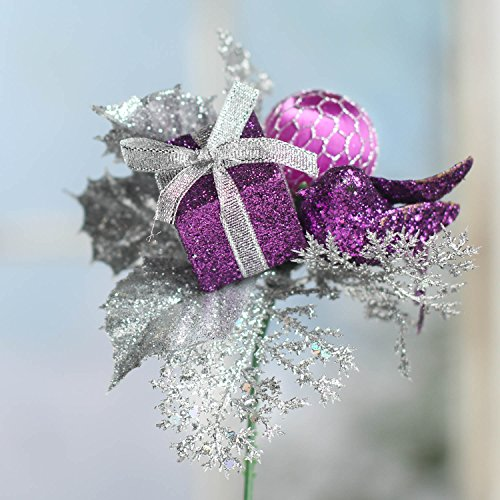Factory Direct Craft Set of 12 Christmas Artificial Flower Stems Holiday Floral Embellishing Picks for Decorating, Crafting and Creating (Silver Purple) ()