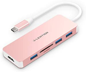 LENTION USB C Hub with 4K HDMI, 3 USB 3.0, SD/Micro SD Card Reader Compatible 2020-2016 MacBook Pro 13/15/16, New Mac Air/Surface, Chromebook, Multi-Port Adapter (CB-C18, Rose Gold)