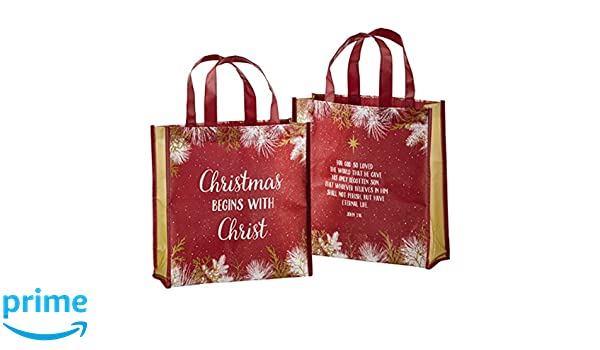 Amazon.com: Christmas Begins with Christ Laminated Tote Bag ...