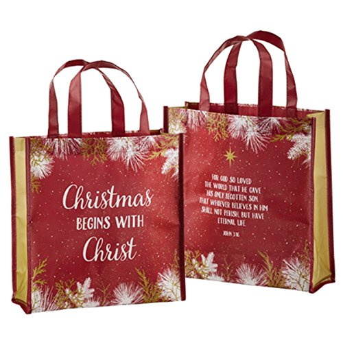 Christmas Begins with Christ Laminated Tote Bag with Reinforced Bottom, 12 inch
