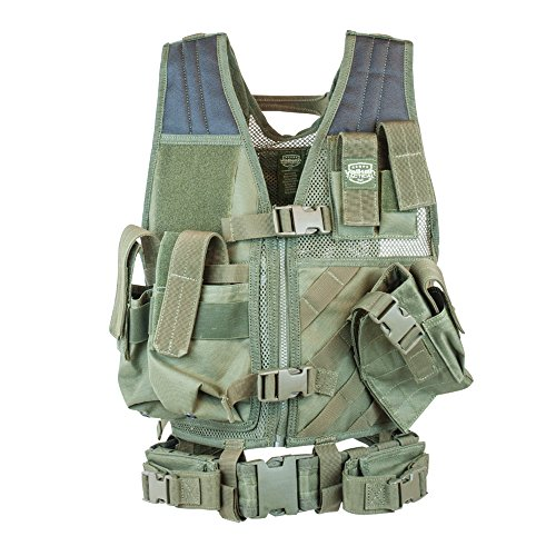 Valken Tactical Youth Crossdraw Airsoft Vest, Olive, One Size