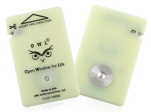 OWL Car Window Breaker Card and Seatbelt Cutter
