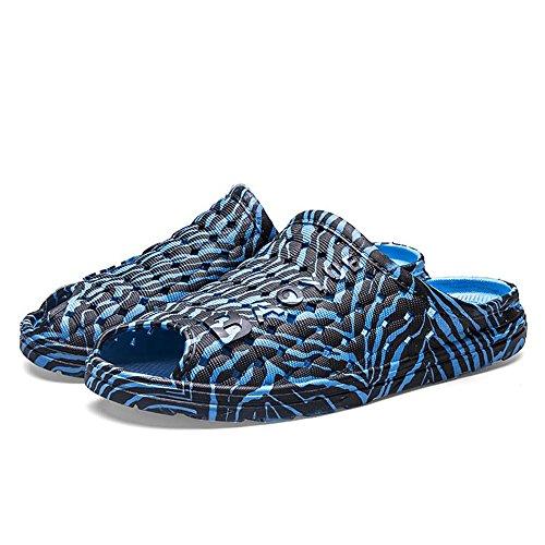 Viajar para Zapatillas Doble la Antideslizantes Hombres en Zebra y Planas Zapatillas Cómodas de Exteriores Propósito con Playa para Orificios de Desgaste Blue Sandalias 4r4Hfxzvwq