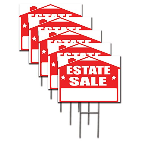 Estate Sign - Visibility Signage Estate Sale Lawn Sign Kit with and Arrow Stickers (5)