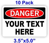 (10) YOUR CUSTOM TEXT Personalized 3.5-inch X 5.0-inch Danger Decals | Vinyl Weatherproof Stickers | Volt Markers Warning Electrican Labels Signs Hot Safety Business Factory Construction