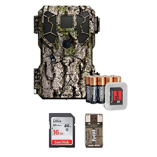 Cam Package (Stealth Cam PX18 14MP/Video Camo Trail Camera w/ 16GB Memory Card & Focus USB Reader Bundle)
