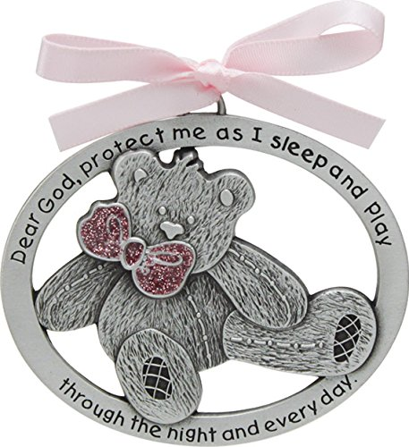 Cathedral Art CM17P Pink Teddy Bear Crib Medal for Jewelry Making, 2-1/2 by 2-Inch