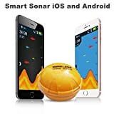 BenchMart Portable Fish Finder, Wireless Bluetooth Sonar Sensor Fish Finder 36m(120FT) Fishfinder with Fish Size, Water Temps and Depth for iPhone iPad IOS Android Smartphone Tablet - Sea Lake Fishing Ice Fishing, Kayak, Boat and Shore Fishing Devices