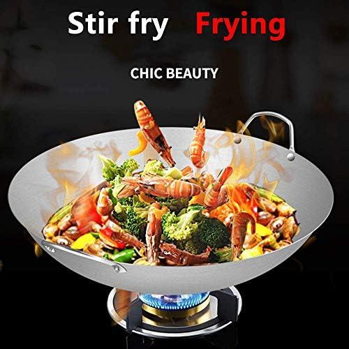 LIUSHI Wok binaural en Acier Inoxydable sans revêtement antiadhésif Wok 34 cm-70 cm Wok pour cuisinières à gaz à Usage Domestique la Cuisine W-38 cm