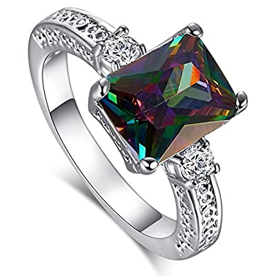 Psiroy 925 Sterling Silver Emerald Cut Created Rainbow Topaz Filled Anniversary Ring
