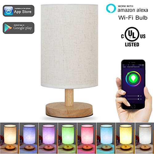 LOHAS Color Changing Smart WiFi Table Desk Lamp, Wi-Fi SmartPhone Voice Control Light, Cylinder Shape, Fabric Wood Table Lamps for Dinning, Bedside, Kitchen, Dinner, Office(1 Smart Bulb Included) (Light Wood Shades)