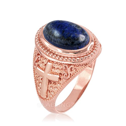 14K Rose Gold Lapis Lazuli Gemstone Christian Cross Ring (8.25) - 14k Lapis Cross