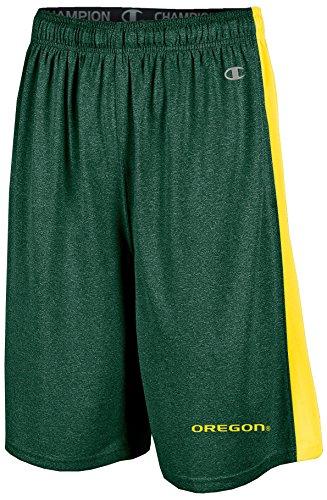 Champion NCAA Oregon Ducks Adult Men Training Short with Contr, X-Large, Green Heather (Mens Shorts Oregon)