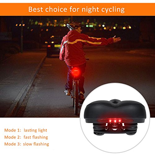 Zacro Bike Seat with LED Taillight - Universal Gel Bike Saddle with Spring and Breathable Design, 1 Mounting Wrench and 1 Screwdriver Included by Zacro (Image #3)