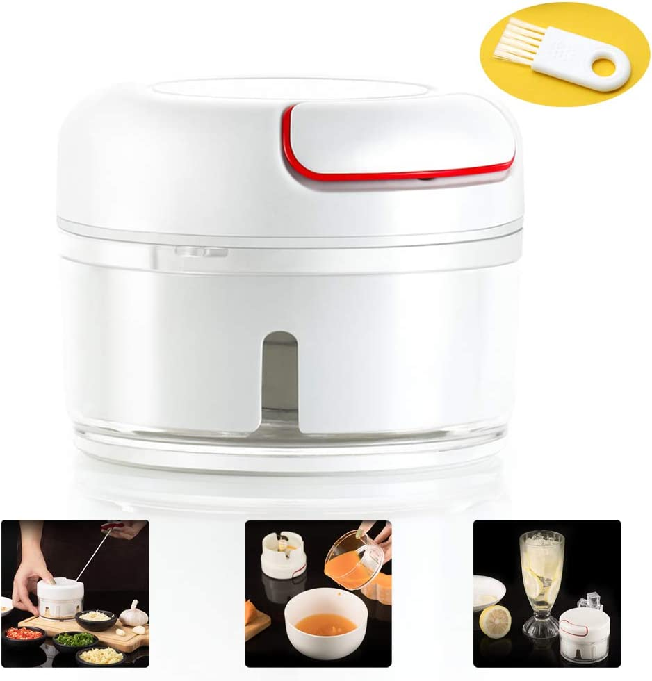 Latest Manual Food Chopper Mini Garlic Press Mincer Tool Pull String Vegetable Chopper/Mixer/Grinder/Blender Handheld Baby Food Processor with One Brush,Easy to Carry(1 Cup, White)